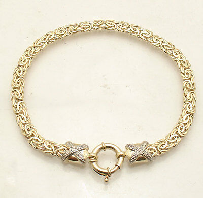 """8.25"""" Diamond Accent Byzantine Bracelet Spring Ring Clasp REAL 14K Yellow Gold"""