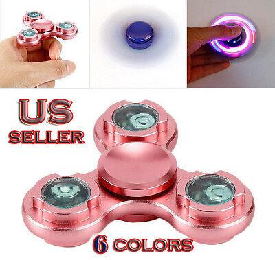 Fidget Spinner 3LED Light Aluminum Metal Hand EDC Finger Gyro Desk Focus Toy
