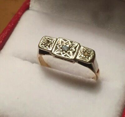 Vintage Trilogy 18ct Yellow Gold Platinum & Square Cut Diamond  Ring ~ Size I.5