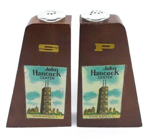 John Hancock Center Chicago Souvenir Wooden Salt and Pepper Shakers - Damaged