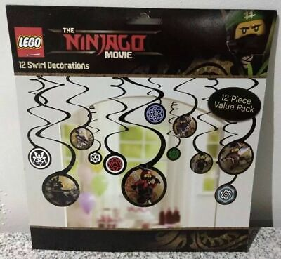 LEGO Ninjago Movie Hanging Swirl Decorations Set of 12 Value Pack BRAND NEW