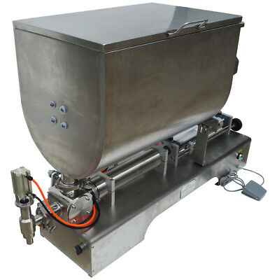 100-1000ml Liquid Thick Paste Filling Machine Piston Filler 60l Mixing Hopper