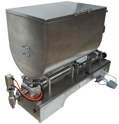 100-1000ml Liquid Thick Paste Filling Machine Piston Filler 60l Mixing Hopper
