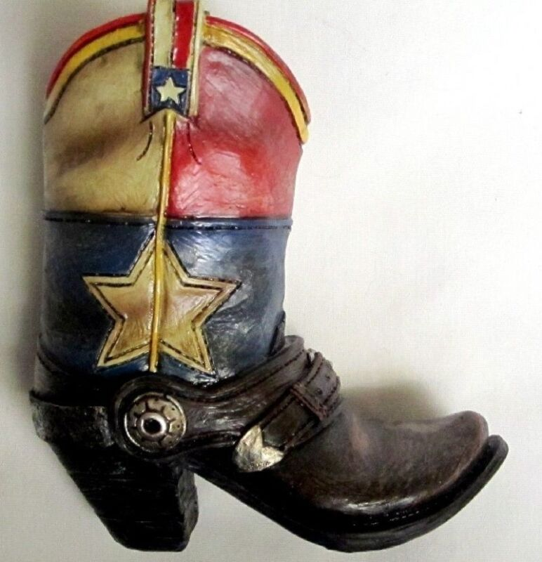 Western Small Ceramic Cowboy Boot Pencil Holder Collectible New (0167)