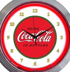 Coca Cola Neon Wall Clock Coke Office Game Room Garage 15 Inch Red White Green