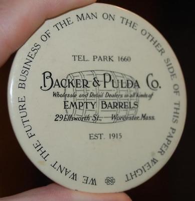 RARE Backer &  Pulda Barrels MA. advertising Celluloid Paperweight Pocket Mirror