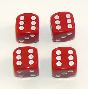 Set of  Four Red Dice Dust Caps X4 - 80's Retro Valve Caps - BMX VW