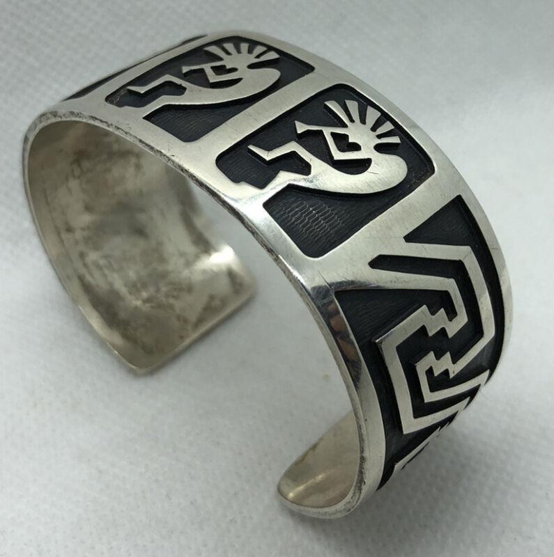 VTG Native sterling silver kokopelli overlay bracelet Elgene Sehongva Hopi