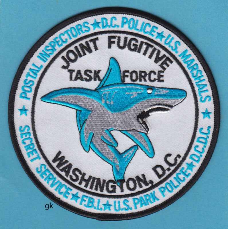 WASHINGTON DC JOINT FUGITIVE TASK FORCE FBI USSS SHARK POLICE SHOULDER PATCH