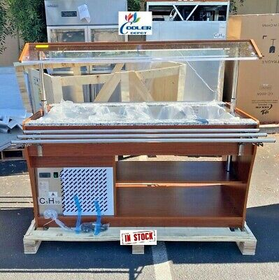 New 60 Cold Table Refrigerator Buffet Mobile Trolley Salad Bar Fruit Display