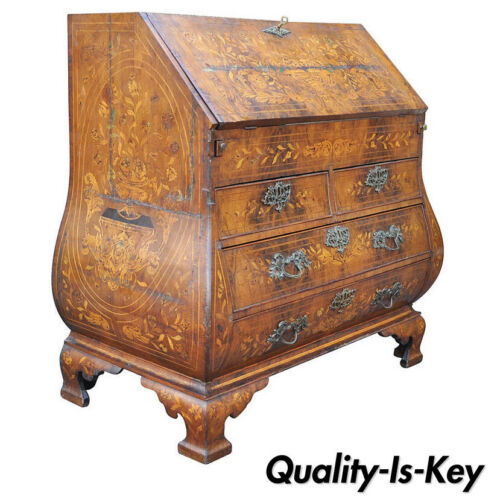 18th C. Dutch Marquetry Inlay Drop Front Secretary Desk Bombe Commode Secretaire