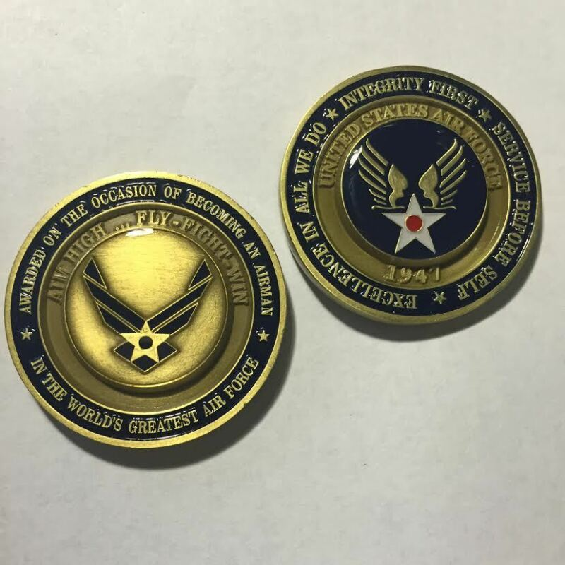 Authentic Air Force Airman Award Aim High Fly Fight Win Military Challenge Coin