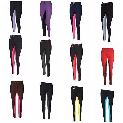 Reithose Kniebesatz Baumwolle Elasthan Kinder + Damen Größe 24-48 2farbig