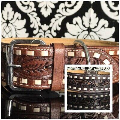 FATANO Luxus Breit 5 cm Hundehalsband Leder geprägt braun XXL Hunde 40 - 76 cm