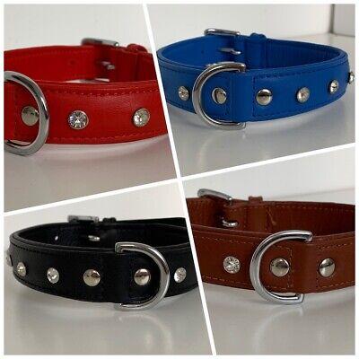 FATANO Hundehalsband Leder 25-51 cm Halsband Soft Strass Lederhalsband C44