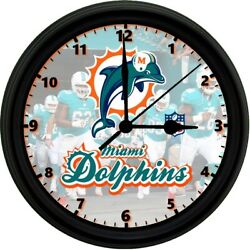 MIAMI DOLPHINS, 8in. Unique Homemade Wall Clock, Battery Included