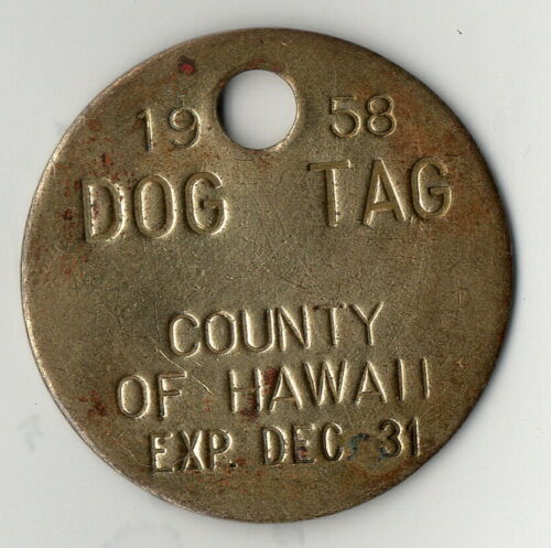 DOG LICENSE - HAWAII - 1958 unnumbered brass dog, county issue, nice original