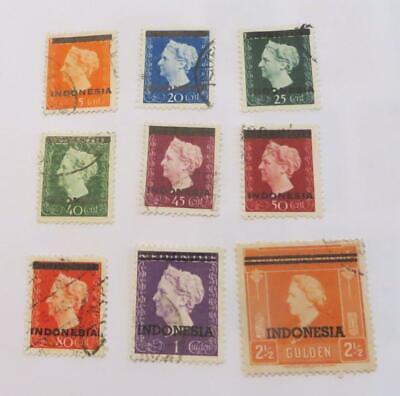 Indonesia 1948 - 49 Queen Wilhelmina overprint on Netherland Indies used
