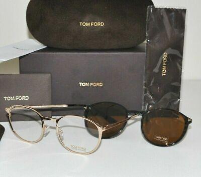 New Tom Ford FT 5476 28E Eyeglasses Rose Gold Havana Frame Clip Sunglasses (Eyeglasses Round Rock)