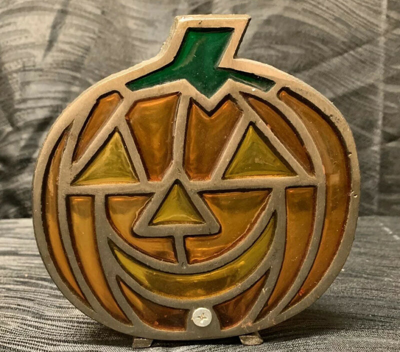 Vtg Metal Jack O Lantern Tea Light Candle Holder Stained Glass Halloween
