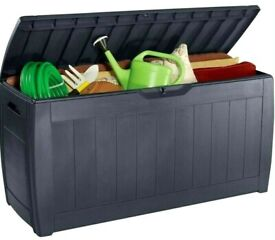 Keter XL Garden Outdoor Storage Box Wood Effect Brown 270L New & Sealed.