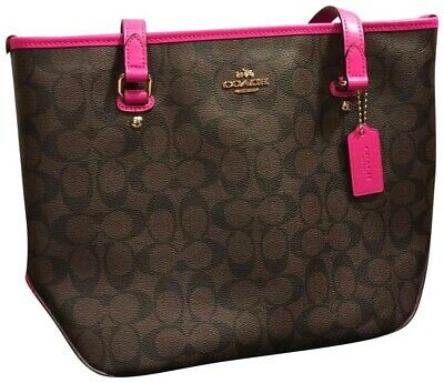 Authentic Coach Signature Zip Tote Purse F23867 Brown Fuchsis Pink NEW WITH TAG