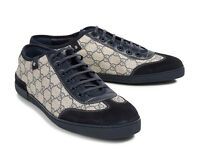 Gucci navy and beige leather and Suede trainers size 11