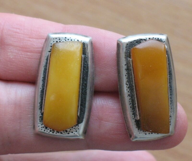 Cufflinks Antique VTG Sterling 875 Silver BUTTERSCOTCH EGG YOLK AMBER Old Honey