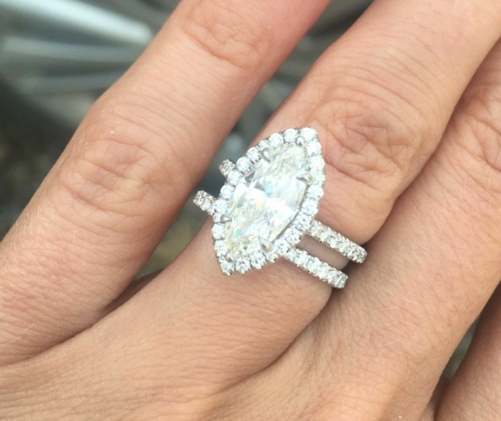 Genuine GIA 3.08 Ct. Marquise Cut Halo Pave Diamond Engagement Bridal Set G, SI1