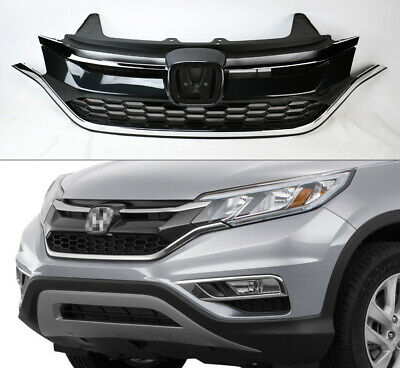 Replacement Black w/ Chrome Front Upper Grill for Honda CRV 2015-2016