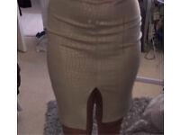Nude Snake Print Skirt Size 12(10)