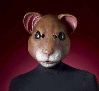 Hamster Mask Full Over The Head Brown Latex Animal Rodent Costume Mask (Hamster Costume Head)