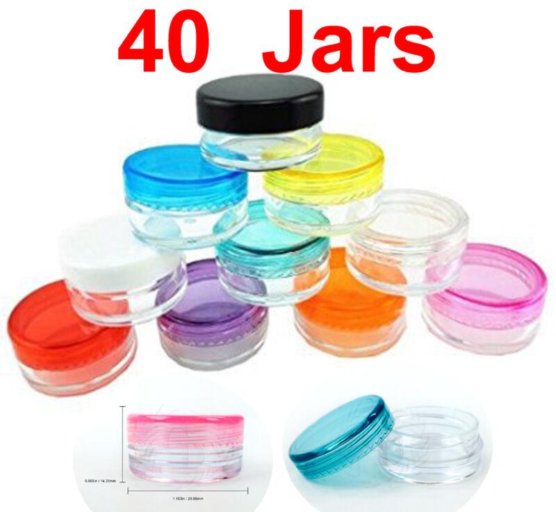 40 Pack 3 gram Mix Color Lid Jar cosmetic Sample makeup cream pot container 3g