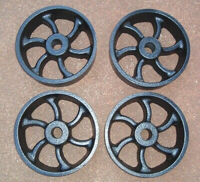Antique Vintage Old Hit Miss Gas Engine Cast Iron Cart Wheels Spiral Spoke