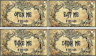 Halloween18  party eat me drink me open me take me tags ribbon table - Halloween Drinks Decorations