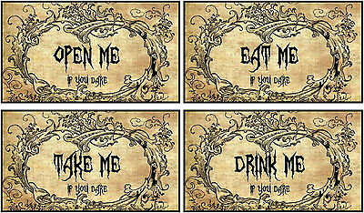 Halloween 12 party eat me drink me take me open me tent cards table decoration - Halloween Drinks Decorations