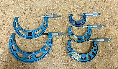 Fowler 5 Piece 1- 6 Outside Micrometer Set Pre-owned Free Shipping