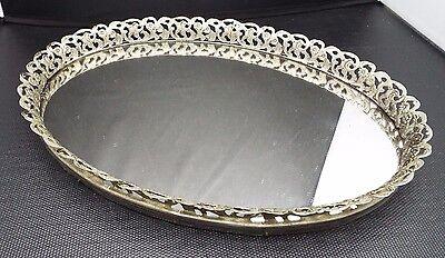 oval mirror tray vanity dresser perfume silver tone filigree metal vintage