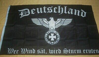 Deutschland Wer Wind sät, wird Sturm ernten Adler EK Flagge Fahne 150 x 90 cm