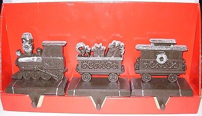 SANTA TRAIN set of 3 Stocking Holders New in Box