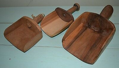 Antique Vintage Primitive Wooden Scoops- Grain, etc.- Farm House Decor
