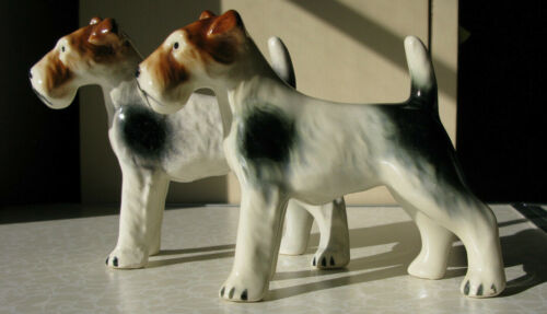 2 Vintage Large Wire Fox Terrier Pottery FIgurines