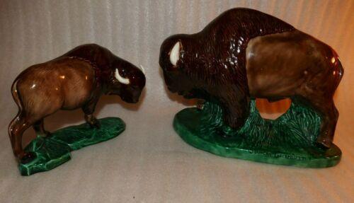 Vintage Ceramic Pair of American Bison Buffalo,1 says Duncan Enterprise statues