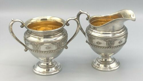 Rose Point by Wallace Sterling Silver Creamer and Sugar Bowls, very nice