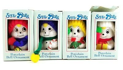 """4pc Vintage Christmas Giftco Snow Bells LOT Box Set Porcelain Bell Ornaments 4"""""""