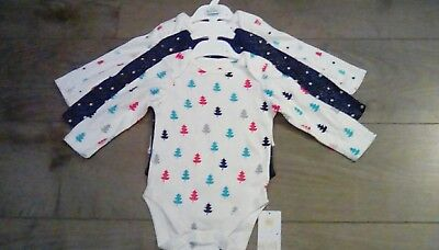 M&S Baby girls 3 Pack Long sleeve Christmas body suits age 9-12 months BNWT ***