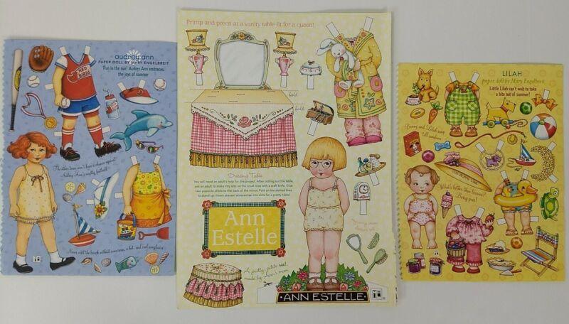 Mary Engelbreit Paper Dolls - Audrey Ann - Anne Estelle - Lilah - Uncut  2006
