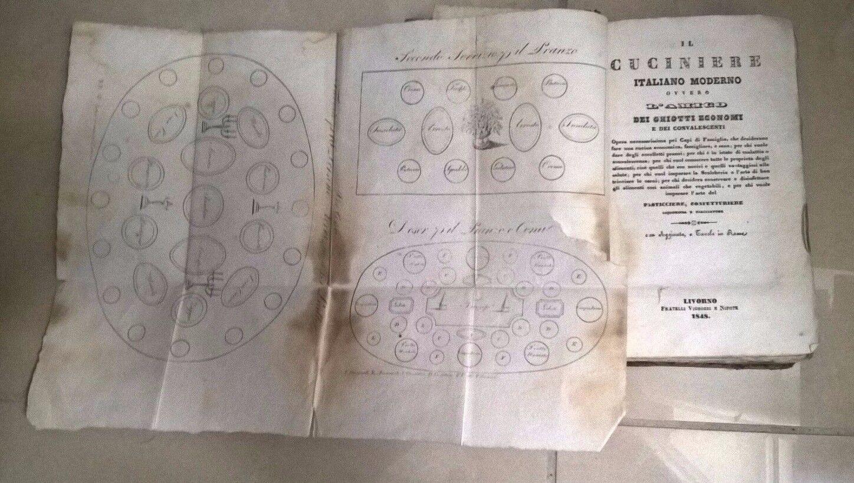 IL CUCINIERE ITALIANO MODERNO OVVERO L'AMICO DEI GHIOTTI ECONOMI 1848 CUCINA