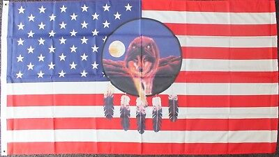 USA Wolf Flag 5x3 Dream Catcher Line Dance American History Native Indians Barn