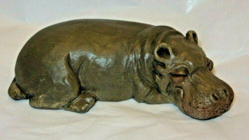 Vintage Sandicast Hippo Lil Snoozer 1989 Signed S Brue Hippopotamus Figure USA